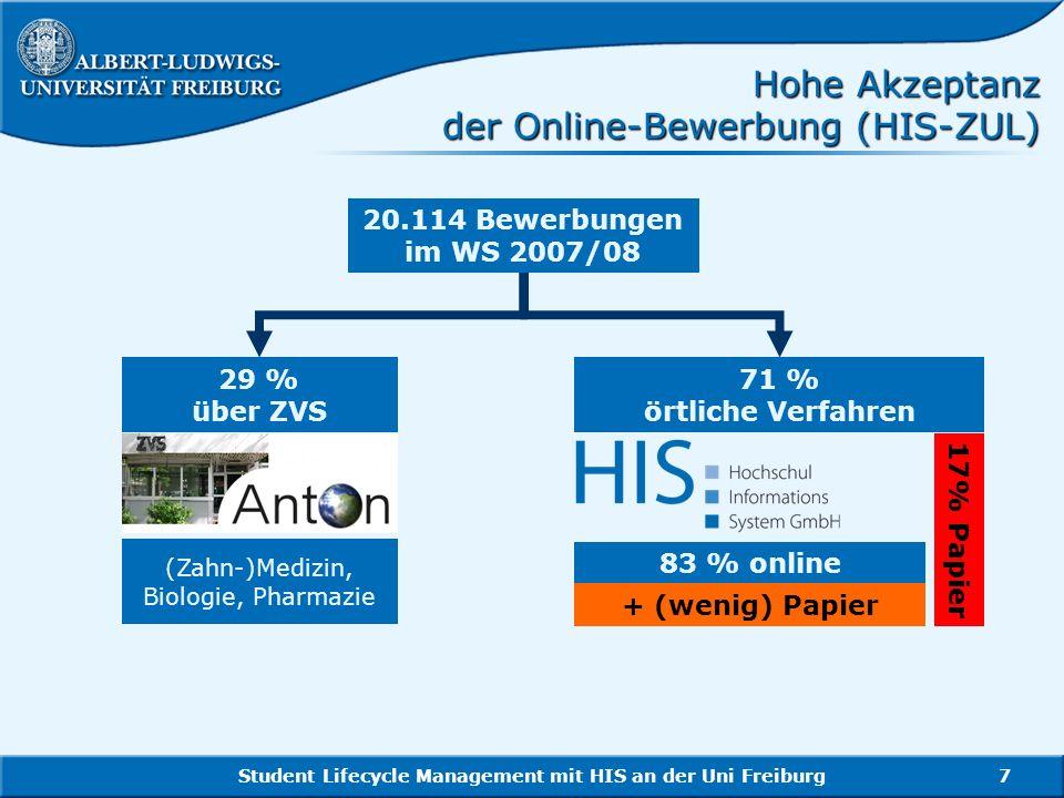 Student Lifecycle Management mit HIS an der Uni Freiburg7 Hohe Akzeptanz der Online-Bewerbung (HIS-ZUL) 20.114 Bewerbungen im WS 2007/08 71 % örtliche
