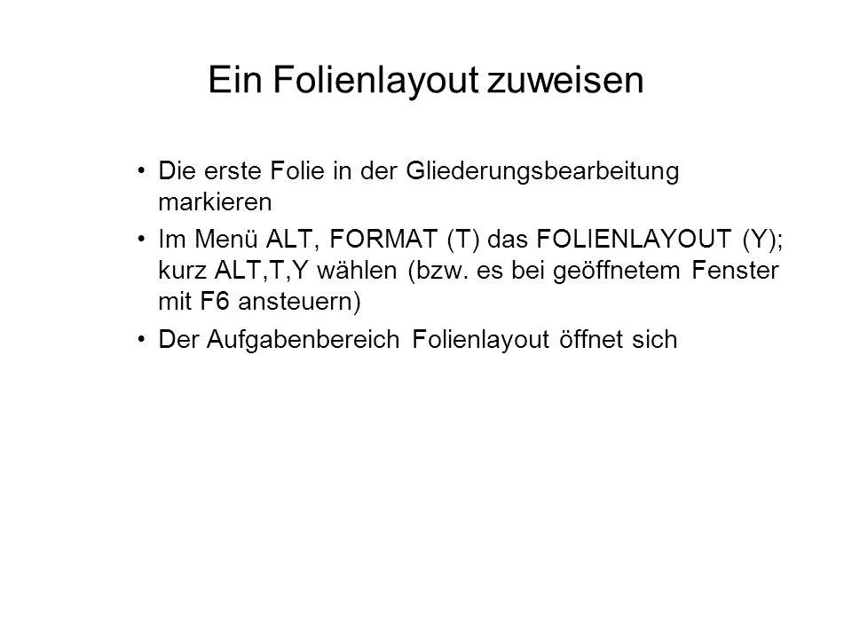 Ein Folienlayout zuweisen Die erste Folie in der Gliederungsbearbeitung markieren Im Menü ALT, FORMAT (T) das FOLIENLAYOUT (Y); kurz ALT,T,Y wählen (b