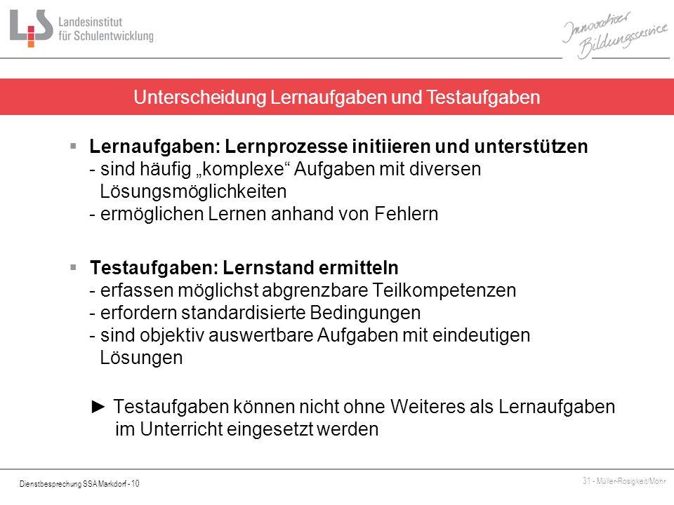 Dienstbesprechung SSA Markdorf - 10 31 - Müller-Rosigkeit/Mohr Unterscheidung Lernaufgaben und Testaufgaben Lernaufgaben: Lernprozesse initiieren und