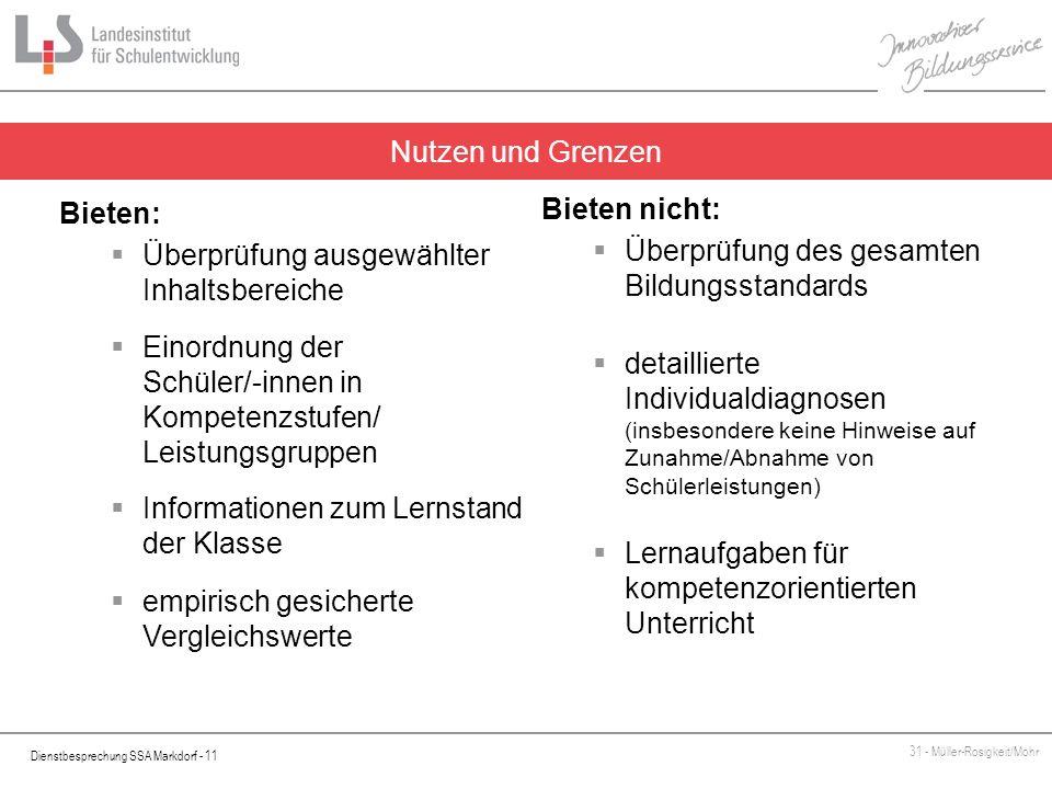 Dienstbesprechung SSA Markdorf - 11 31 - Müller-Rosigkeit/Mohr Nutzen und Grenzen Bieten: Überprüfung ausgewählter Inhaltsbereiche Einordnung der Schü