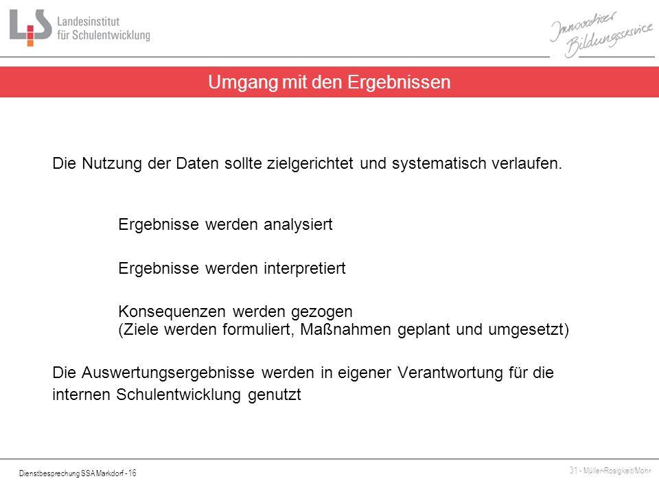 Dienstbesprechung SSA Markdorf - 16 31 - Müller-Rosigkeit/Mohr Die Nutzung der Daten sollte zielgerichtet und systematisch verlaufen. Ergebnisse werde
