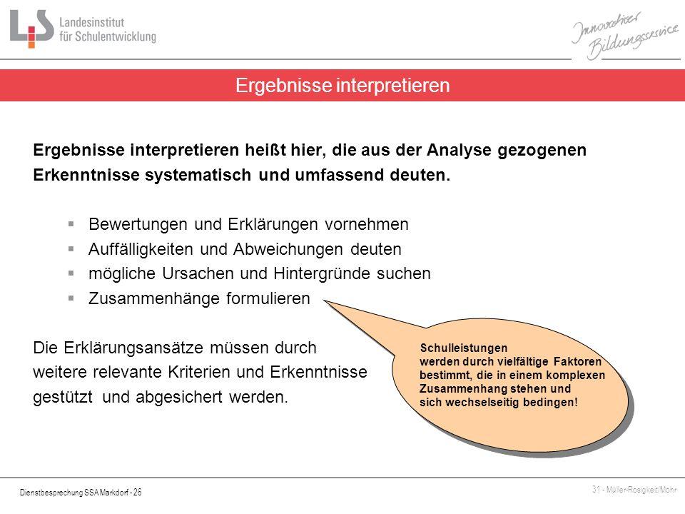 Dienstbesprechung SSA Markdorf - 26 31 - Müller-Rosigkeit/Mohr Ergebnisse interpretieren heißt hier, die aus der Analyse gezogenen Erkenntnisse system