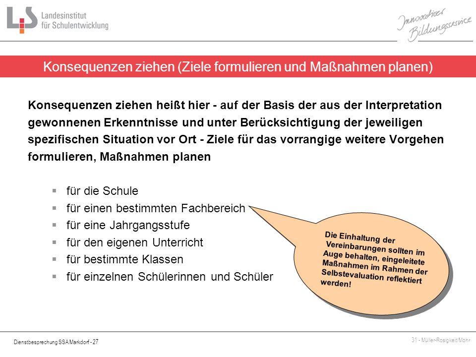 Dienstbesprechung SSA Markdorf - 27 31 - Müller-Rosigkeit/Mohr Konsequenzen ziehen heißt hier - auf der Basis der aus der Interpretation gewonnenen Er