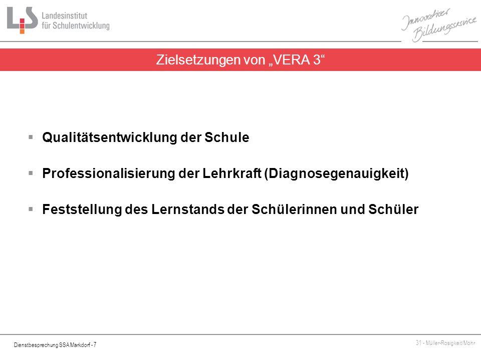 Dienstbesprechung SSA Markdorf - 7 31 - Müller-Rosigkeit/Mohr Zielsetzungen von VERA 3 Qualitätsentwicklung der Schule Professionalisierung der Lehrkr