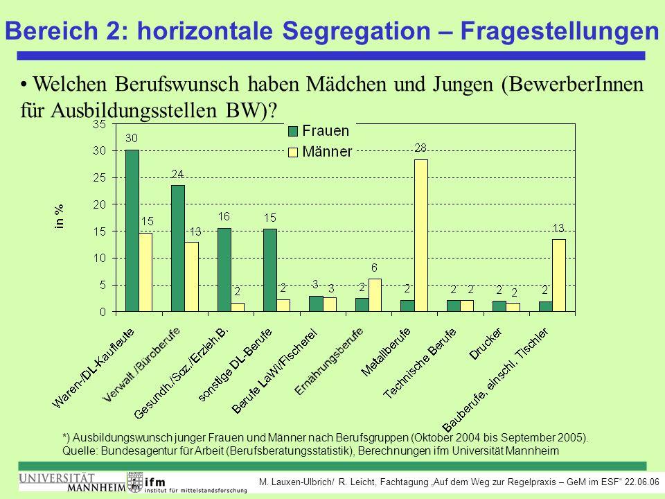 M. Lauxen-Ulbrich/ R. Leicht, Fachtagung Auf dem Weg zur Regelpraxis – GeM im ESF 22.06.06 Bereich 2: horizontale Segregation – Fragestellungen Welche