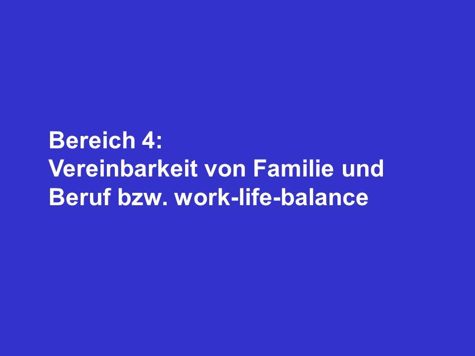 Bereich 4: Vereinbarkeit von Familie und Beruf bzw. work-life-balance