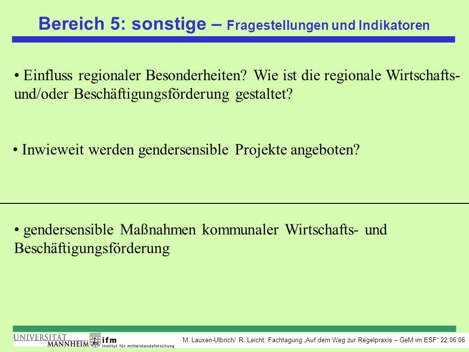 M. Lauxen-Ulbrich/ R. Leicht, Fachtagung Auf dem Weg zur Regelpraxis – GeM im ESF 22.06.06 Bereich 5: sonstige – Fragestellungen und Indikatoren Einfl