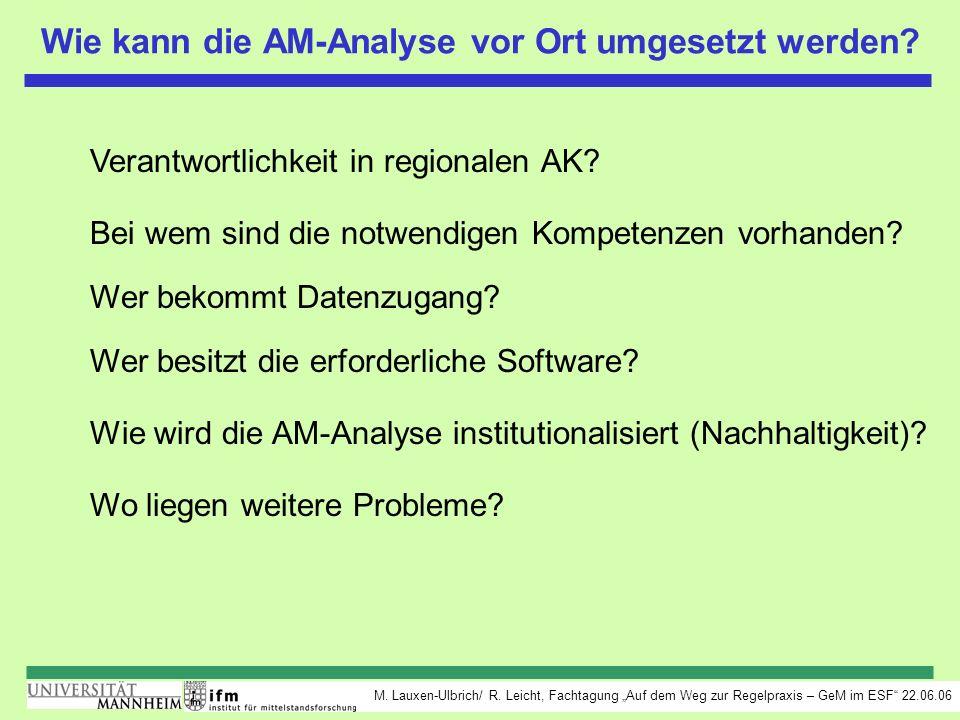 M. Lauxen-Ulbrich/ R. Leicht, Fachtagung Auf dem Weg zur Regelpraxis – GeM im ESF 22.06.06 Wie kann die AM-Analyse vor Ort umgesetzt werden? Verantwor
