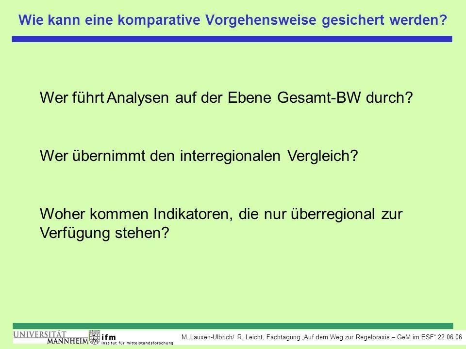 M. Lauxen-Ulbrich/ R. Leicht, Fachtagung Auf dem Weg zur Regelpraxis – GeM im ESF 22.06.06 Wie kann eine komparative Vorgehensweise gesichert werden?