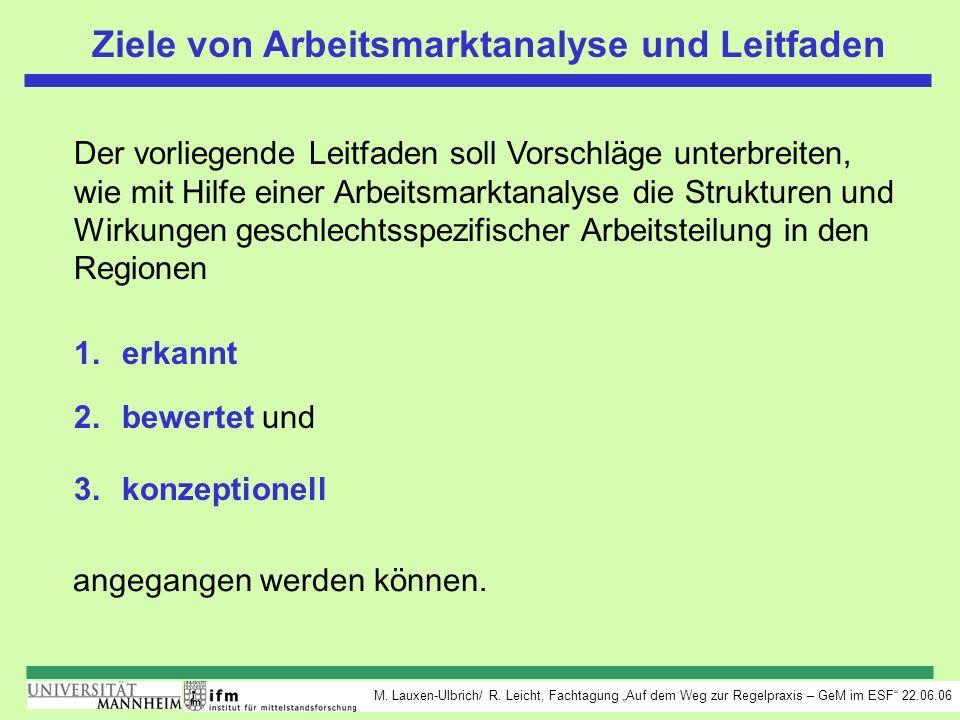M. Lauxen-Ulbrich/ R. Leicht, Fachtagung Auf dem Weg zur Regelpraxis – GeM im ESF 22.06.06 Ziele von Arbeitsmarktanalyse und Leitfaden Der vorliegende