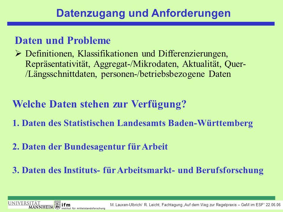 M. Lauxen-Ulbrich/ R. Leicht, Fachtagung Auf dem Weg zur Regelpraxis – GeM im ESF 22.06.06 Datenzugang und Anforderungen Daten und Probleme Definition