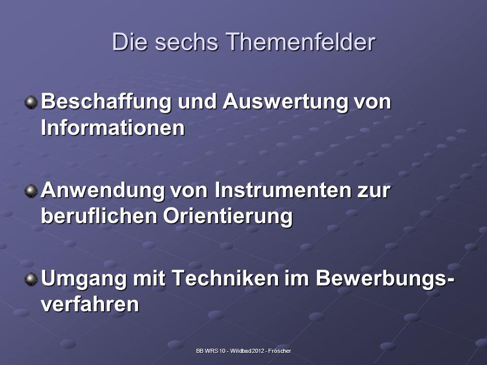 BB WRS 10 - Wildbad 2012 - Fröscher Die sechs Themenfelder Beschaffung und Auswertung von Informationen Anwendung von Instrumenten zur beruflichen Ori