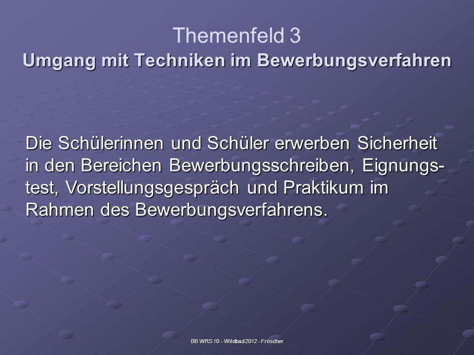 BB WRS 10 - Wildbad 2012 - Fröscher Umgang mit Techniken im Bewerbungsverfahren Themenfeld 3 Umgang mit Techniken im Bewerbungsverfahren Die Schülerin