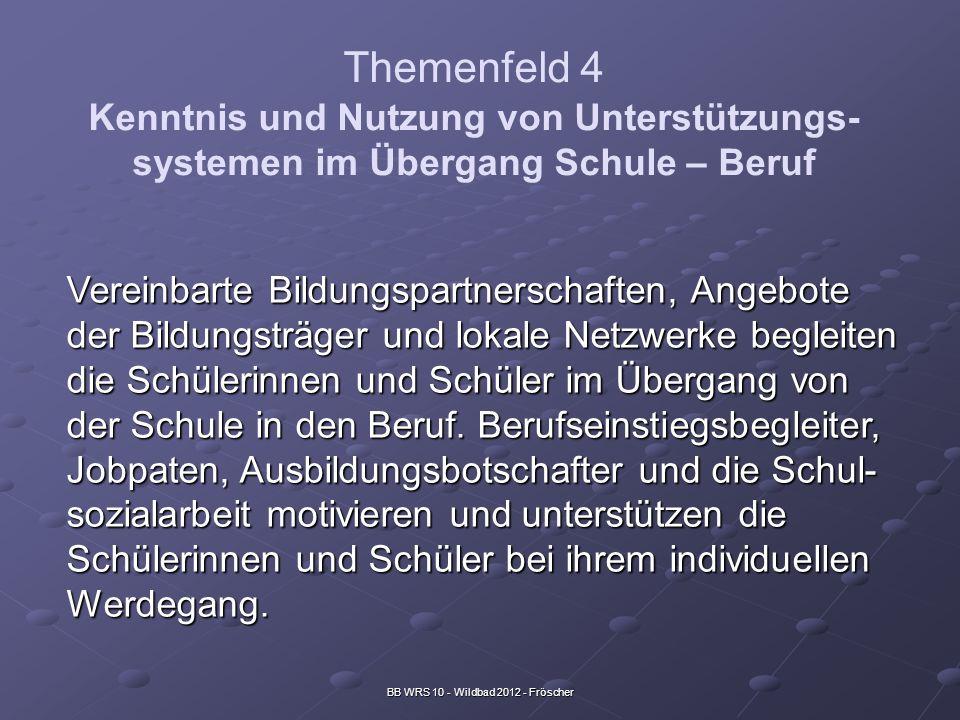 BB WRS 10 - Wildbad 2012 - Fröscher Themenfeld 4 Kenntnis und Nutzung von Unterstützungs- systemen im Übergang Schule – Beruf Vereinbarte Bildungspart