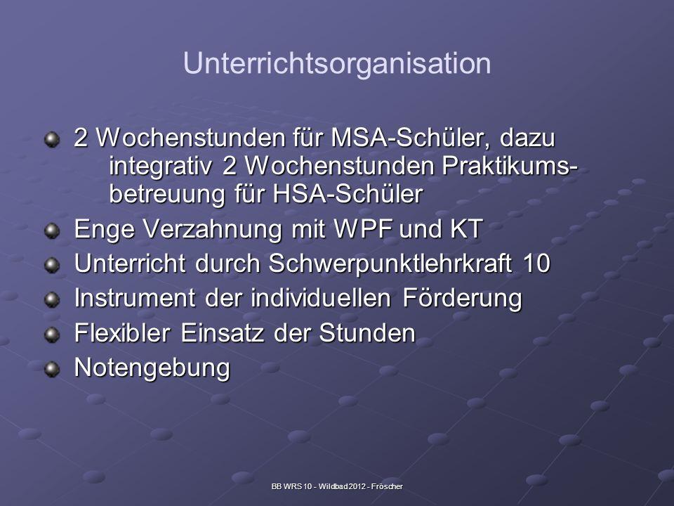 BB WRS 10 - Wildbad 2012 - Fröscher Unterrichtsorganisation 2 Wochenstunden für MSA-Schüler, dazu integrativ 2 Wochenstunden Praktikums- betreuung für