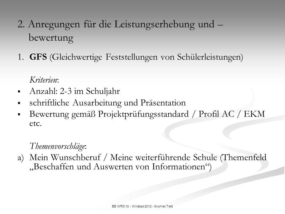 BB WRS 10 - Wildbad 2012 - Gruhler,Treß 1.GFS (Gleichwertige Feststellungen von Schülerleistungen) Kriterien: Anzahl: 2-3 im Schuljahr schriftliche Au