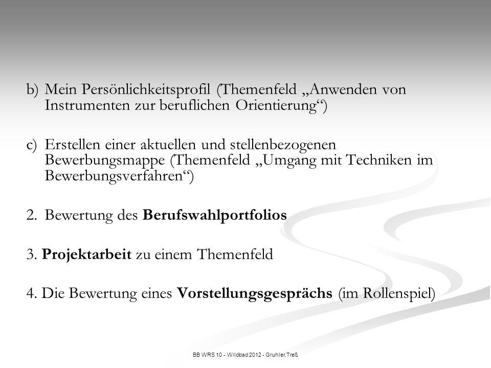 BB WRS 10 - Wildbad 2012 - Gruhler,Treß b)Mein Persönlichkeitsprofil (Themenfeld Anwenden von Instrumenten zur beruflichen Orientierung) c)Erstellen e
