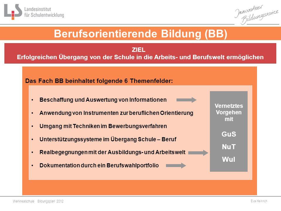 Werkrealschule Bildungsplan 2012 Eva Heinrich 8 Berufsorientierende Bildung (BB) Das Fach BB beinhaltet folgende 6 Themenfelder: Beschaffung und Auswe