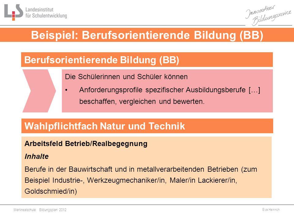 Werkrealschule Bildungsplan 2012 Eva Heinrich 9 Beispiel: Berufsorientierende Bildung (BB) Die Schülerinnen und Schüler können Anforderungsprofile spe
