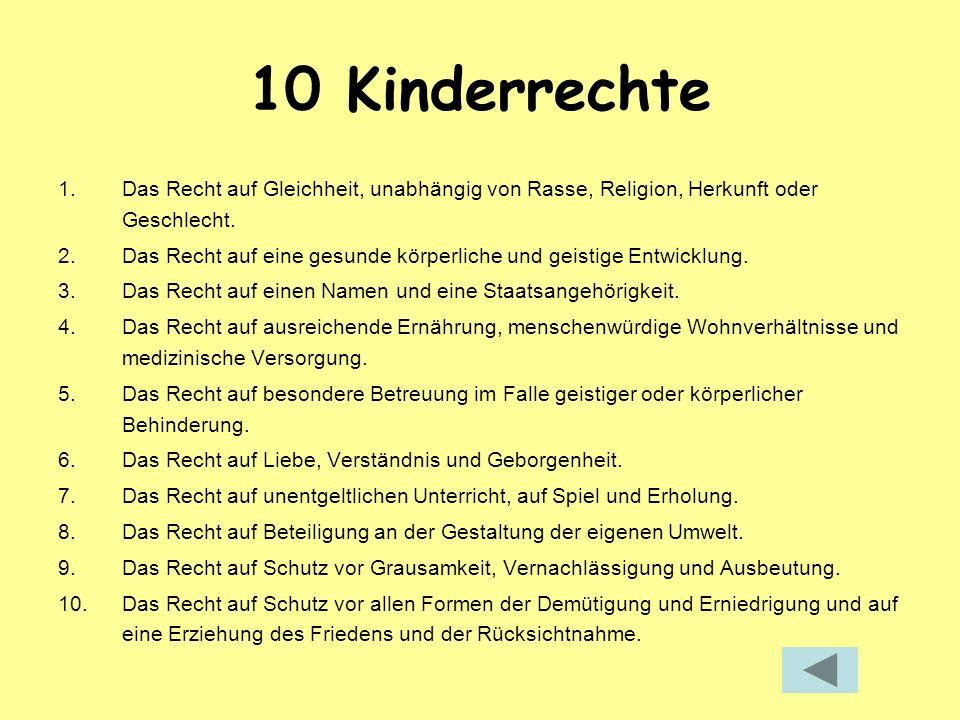 10 Kinderrechte 1.Das Recht auf Gleichheit, unabhängig von Rasse, Religion, Herkunft oder Geschlecht. 2.Das Recht auf eine gesunde körperliche und gei
