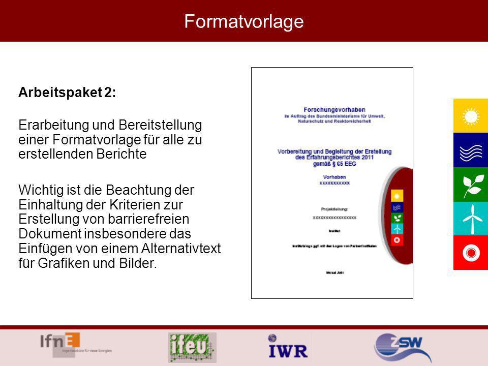 Formatvorlage Arbeitspaket 2: Erarbeitung und Bereitstellung einer Formatvorlage für alle zu erstellenden Berichte Wichtig ist die Beachtung der Einhaltung der Kriterien zur Erstellung von barrierefreien Dokument insbesondere das Einfügen von einem Alternativtext für Grafiken und Bilder.