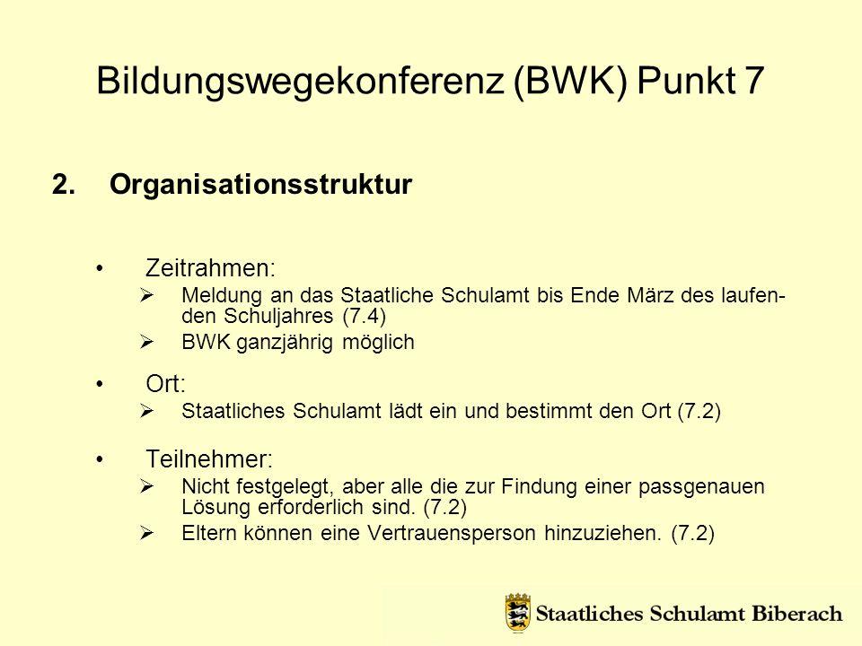 2.Organisationsstruktur Zeitrahmen: Meldung an das Staatliche Schulamt bis Ende März des laufen- den Schuljahres (7.4) BWK ganzjährig möglich Ort: Sta