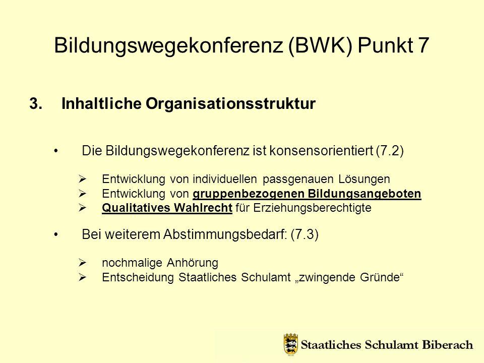 3.Inhaltliche Organisationsstruktur Die Bildungswegekonferenz ist konsensorientiert (7.2) Entwicklung von individuellen passgenauen Lösungen Entwicklu