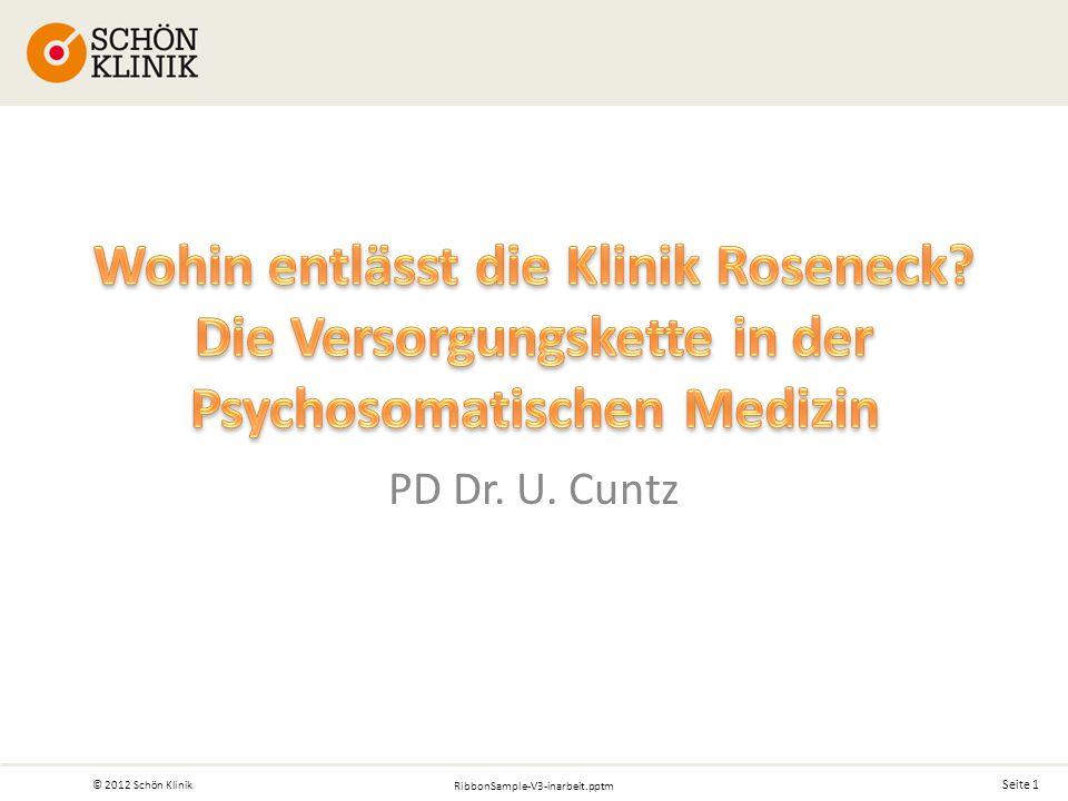 Seite 1 © 2012 Schön Klinik RibbonSample-V3-inarbeit.pptm PD Dr. U. Cuntz