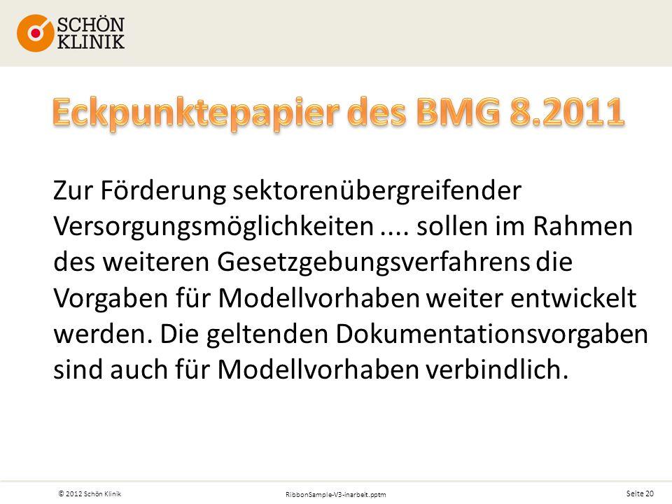 Seite 20 © 2012 Schön Klinik RibbonSample-V3-inarbeit.pptm Zur Förderung sektorenübergreifender Versorgungsmöglichkeiten....
