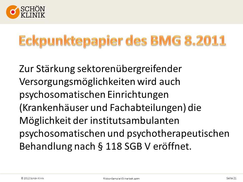 Seite 21 © 2012 Schön Klinik RibbonSample-V3-inarbeit.pptm Zur Stärkung sektorenübergreifender Versorgungsmöglichkeiten wird auch psychosomatischen Einrichtungen (Krankenhäuser und Fachabteilungen) die Möglichkeit der institutsambulanten psychosomatischen und psychotherapeutischen Behandlung nach § 118 SGB V eröffnet.