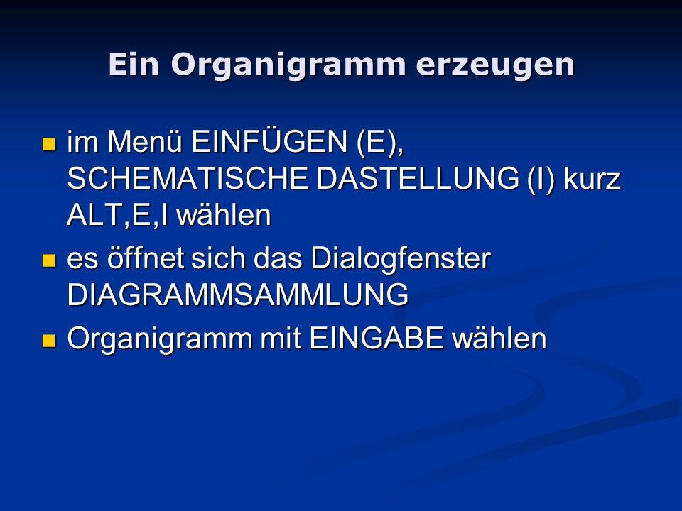 Ein Organigramm erzeugen im Menü EINFÜGEN (E), SCHEMATISCHE DASTELLUNG (I) kurz ALT,E,I wählen im Menü EINFÜGEN (E), SCHEMATISCHE DASTELLUNG (I) kurz