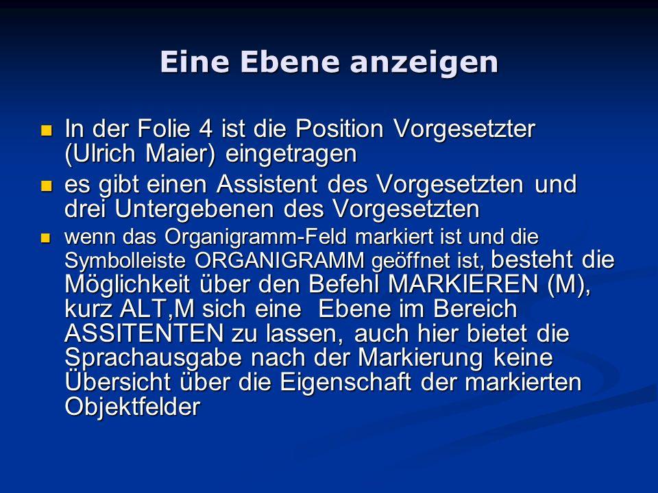 Eine Ebene anzeigen In der Folie 4 ist die Position Vorgesetzter (Ulrich Maier) eingetragen In der Folie 4 ist die Position Vorgesetzter (Ulrich Maier