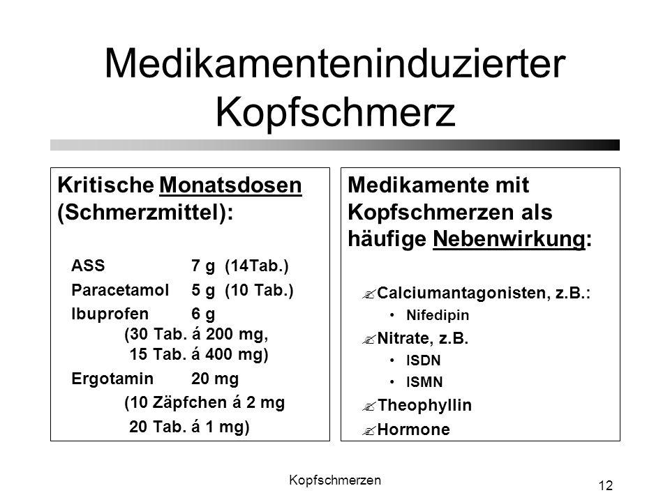 Kopfschmerzen 12 Medikamenteninduzierter Kopfschmerz Kritische Monatsdosen (Schmerzmittel): ASS7 g (14Tab.) Paracetamol5 g (10 Tab.) Ibuprofen6 g (30