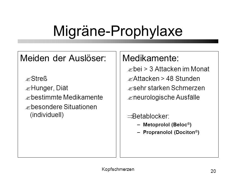 Kopfschmerzen 20 Migräne-Prophylaxe Meiden der Auslöser: ?Streß ?Hunger, Diät ?bestimmte Medikamente ?besondere Situationen (individuell) Medikamente: