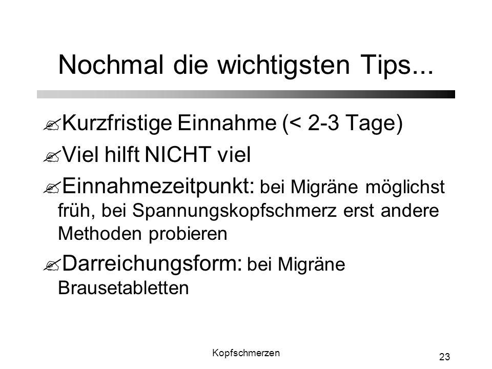 Kopfschmerzen 23 Nochmal die wichtigsten Tips... ?Kurzfristige Einnahme (< 2-3 Tage) ?Viel hilft NICHT viel ?Einnahmezeitpunkt: bei Migräne möglichst