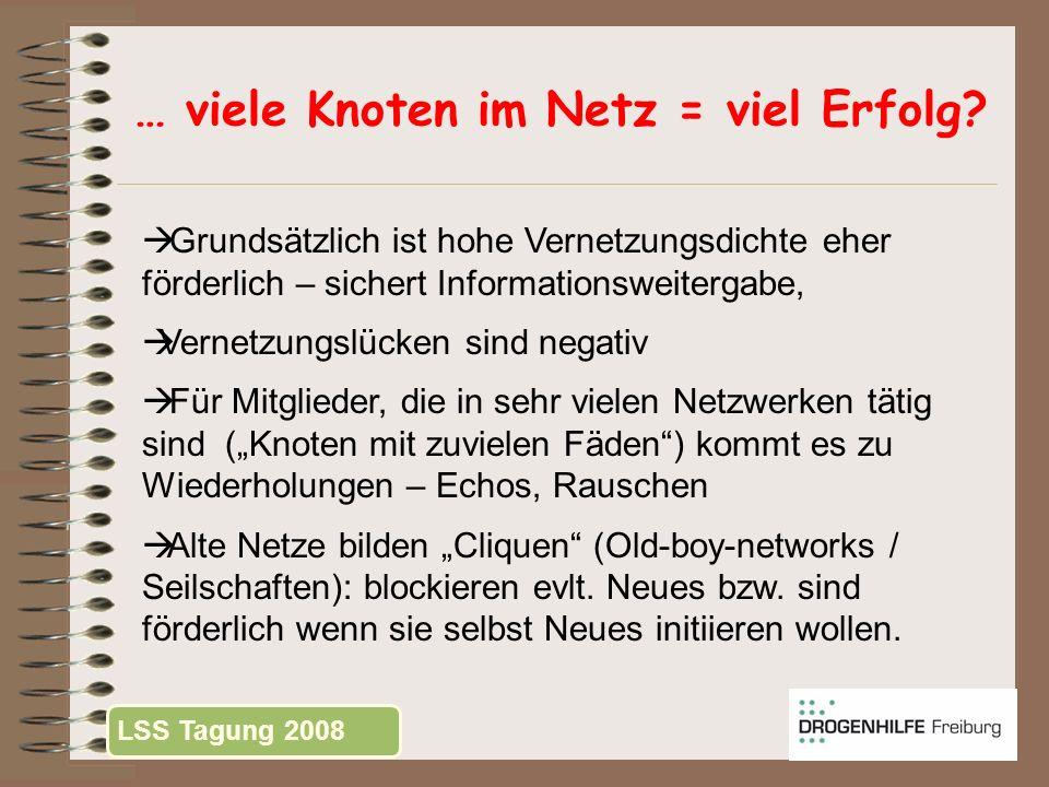 … viele Knoten im Netz = viel Erfolg? Grundsätzlich ist hohe Vernetzungsdichte eher förderlich – sichert Informationsweitergabe, Vernetzungslücken sin