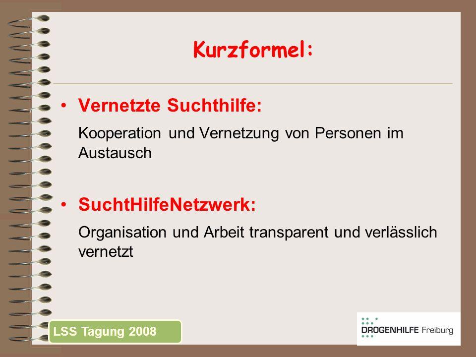 Kurzformel: Vernetzte Suchthilfe: Kooperation und Vernetzung von Personen im Austausch SuchtHilfeNetzwerk: Organisation und Arbeit transparent und ver