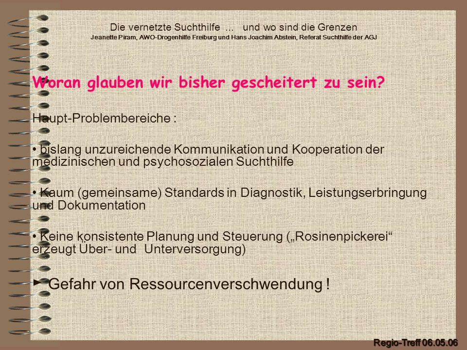 Die vernetzte Suchthilfe... und wo sind die Grenzen Jeanette Piram, AWO-Drogenhilfe Freiburg und Hans Joachim Abstein, Referat Suchthilfe der AGJ Wora