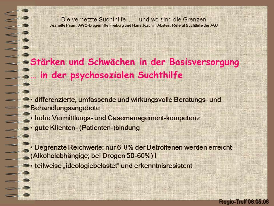 Die vernetzte Suchthilfe... und wo sind die Grenzen Jeanette Piram, AWO-Drogenhilfe Freiburg und Hans Joachim Abstein, Referat Suchthilfe der AGJ Stär