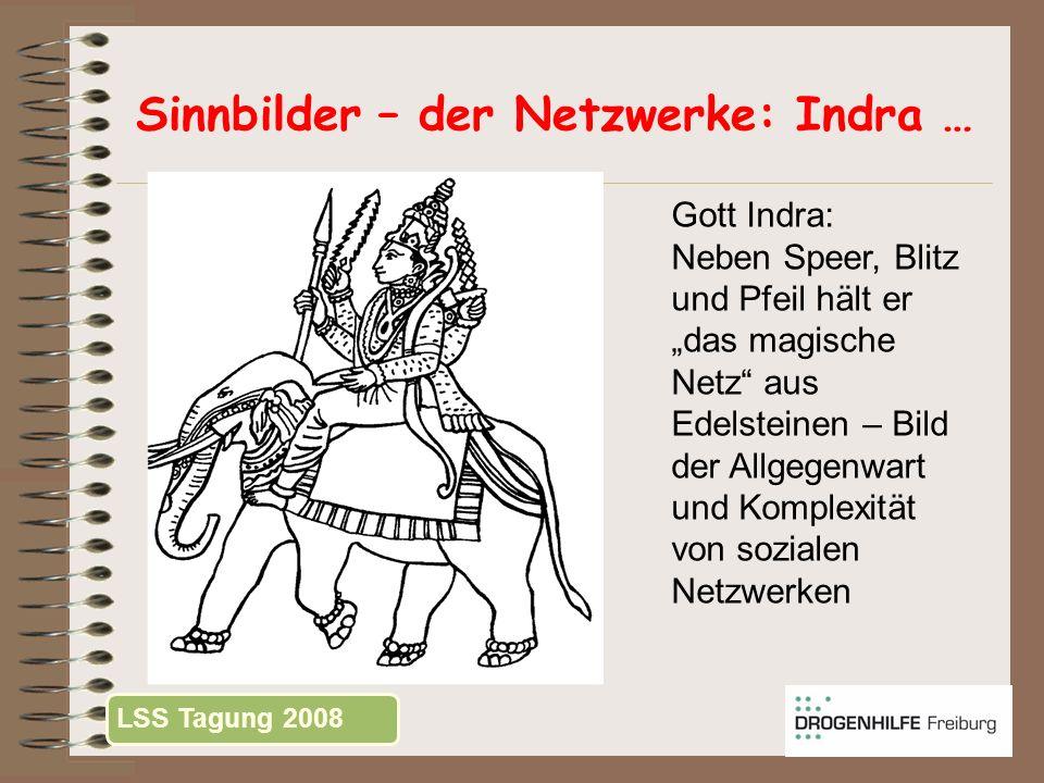 Sinnbilder – der Netzwerke: Indra … Gott Indra: Neben Speer, Blitz und Pfeil hält er das magische Netz aus Edelsteinen – Bild der Allgegenwart und Kom