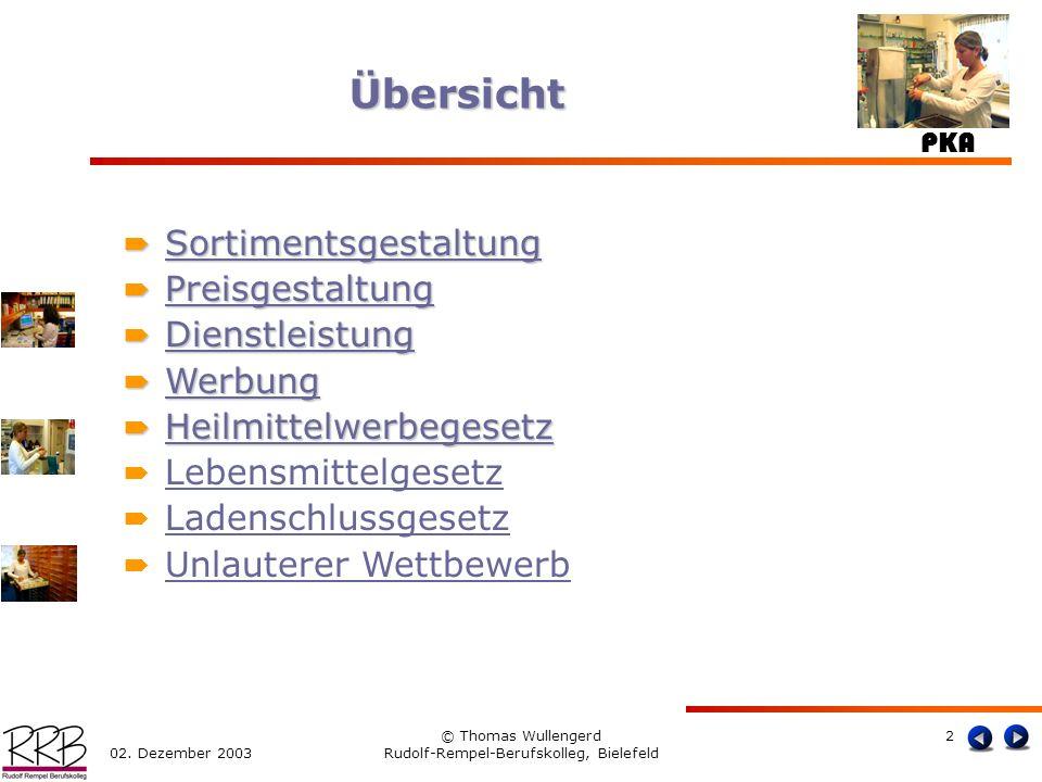 PKA 02. Dezember 2003 © Thomas Wullengerd Rudolf-Rempel-Berufskolleg, Bielefeld 2 Übersicht Sortimentsgestaltung Sortimentsgestaltung Sortimentsgestal