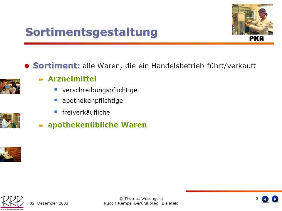 PKA 02. Dezember 2003 © Thomas Wullengerd Rudolf-Rempel-Berufskolleg, Bielefeld 3 Sortiment: Sortiment: alle Waren, die ein Handelsbetrieb führt/verka