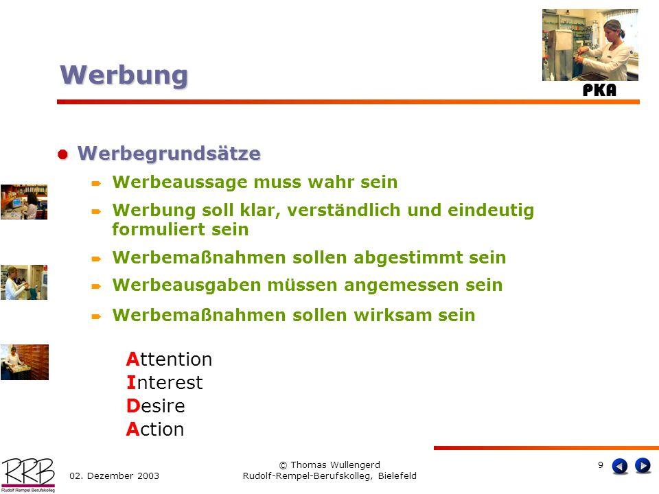 PKA 02. Dezember 2003 © Thomas Wullengerd Rudolf-Rempel-Berufskolleg, Bielefeld 9 Werbegrundsätze Werbegrundsätze Werbeaussage muss wahr sein Werbung