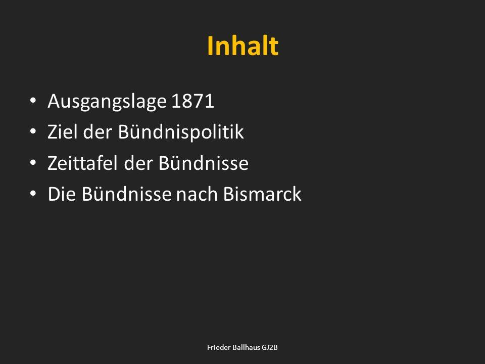 Inhalt Ausgangslage 1871 Ziel der Bündnispolitik Zeittafel der Bündnisse Die Bündnisse nach Bismarck Frieder Ballhaus GJ2B