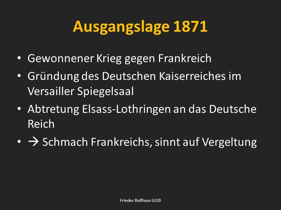 Ausgangslage 1871 Gewonnener Krieg gegen Frankreich Gründung des Deutschen Kaiserreiches im Versailler Spiegelsaal Abtretung Elsass-Lothringen an das