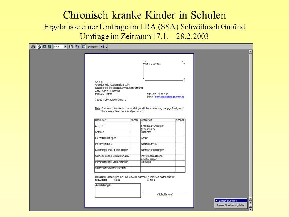 Chronisch kranke Kinder in Schulen Ergebnisse einer Umfrage im LRA (SSA) Schwäbisch Gmünd Umfrage im Zeitraum 17.1. – 28.2.2003