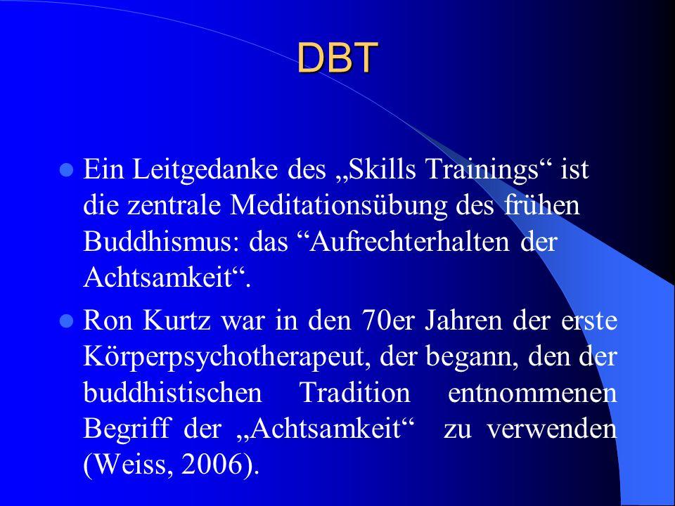DBT Bewegungs- und Körpertherapeuten fällt auf, dass die Aufmerksamkeitslenkung auf innere Vorgänge, die in der buddhistischen Terminologie als das Wecken des inneren Beobachters und das Sich-Begegnen wie ein Zeuge bezeichnet wird, auch in verschiedenen bewegungstherapeutischen Richtungen eine lange Tradition hat.