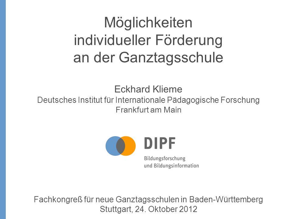 Individuelle Förderung ist ein politischer Begriff, eingeführt vom Forum Bildung Individuelle Förderung – Auf dem Weg zur Ganztagsschule..