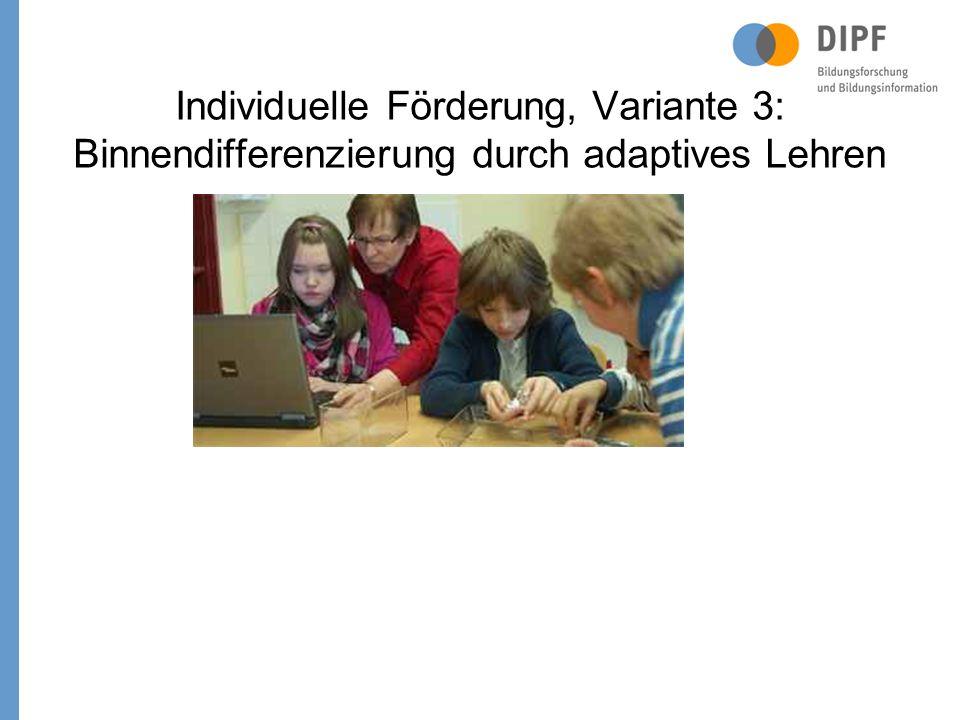 Individuelle Förderung, Variante 3: Binnendifferenzierung durch adaptives Lehren