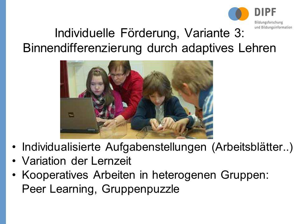 Individuelle Förderung, Variante 3: Binnendifferenzierung durch adaptives Lehren Individualisierte Aufgabenstellungen (Arbeitsblätter..) Variation der Lernzeit Kooperatives Arbeiten in heterogenen Gruppen: Peer Learning, Gruppenpuzzle